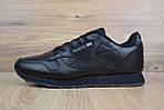 Мужские кроссовки Reebok Classic, черные + серый лого, фото 8