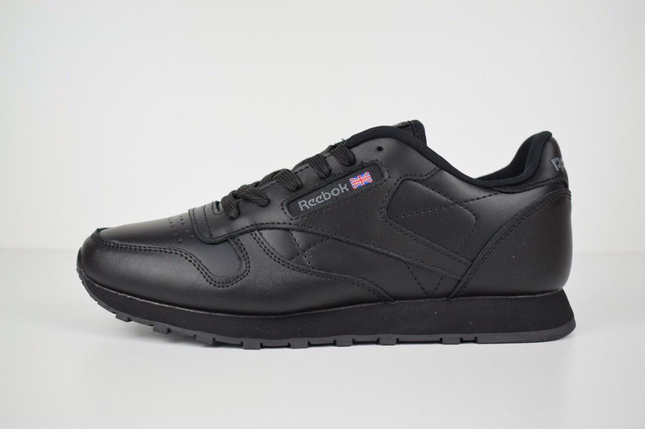 Мужские кроссовки Reebok Classic, черные + серый лого