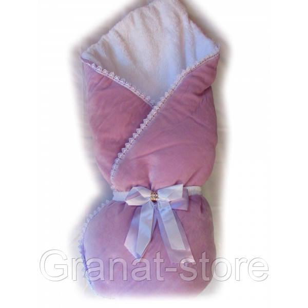 """Конверт-одеяло на выписку """"Чудо"""". Фиолетовый"""