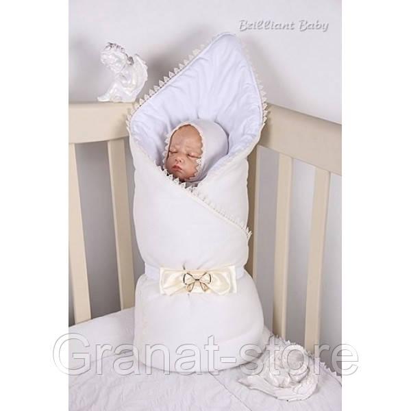 Конверт-одеяло на выписку Lari велюр Мишка