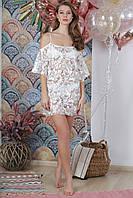 Пляжная туника из органзы с вышивкой, цвет - белый.