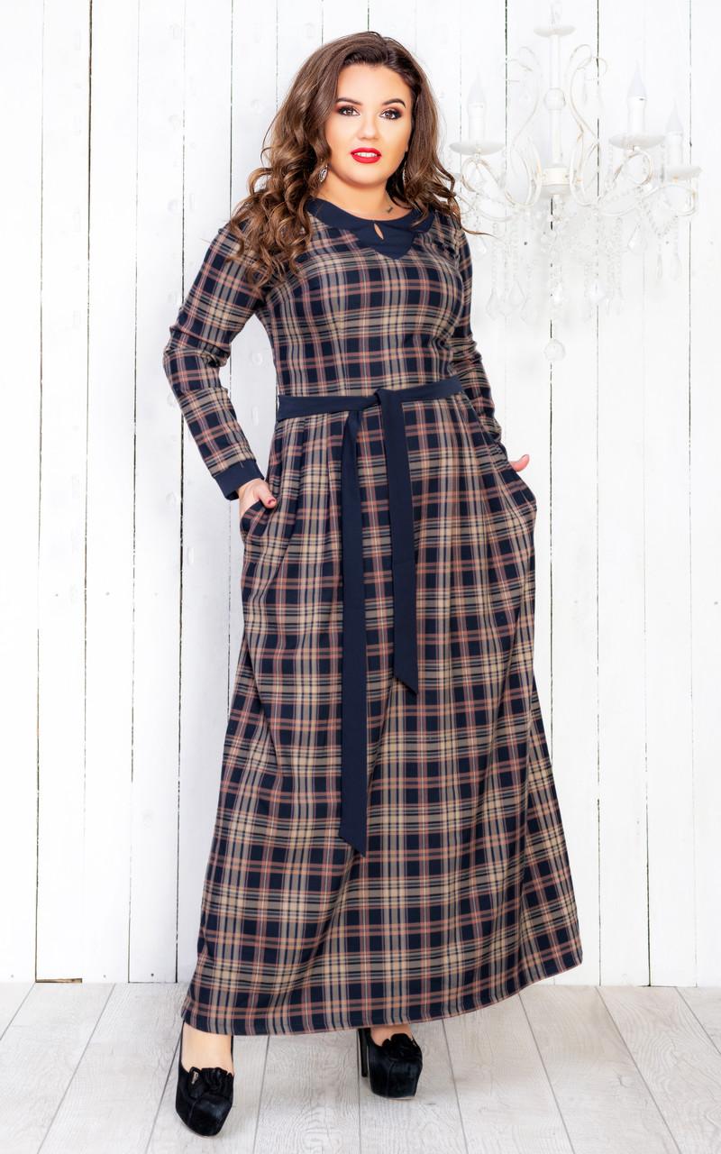 Теплое платье в клетку с длинным рукавом 50 р