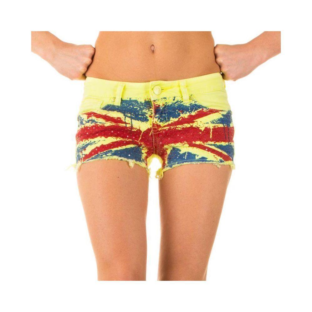 Короткие джинсовые шорты с английским флагом от Simply Chic (США) Желтый