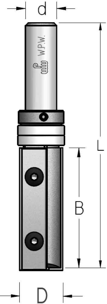 Фреза обгонная WPW, змінні ножі, верхній підшипник D19 B50 d12 Z2