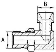 Штуцера угловые S17-S19 с контргайкой (М14х1.5КГ-М16х1.5)