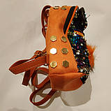 Рюкзак с паеткой оранжевый с пушком, фото 2