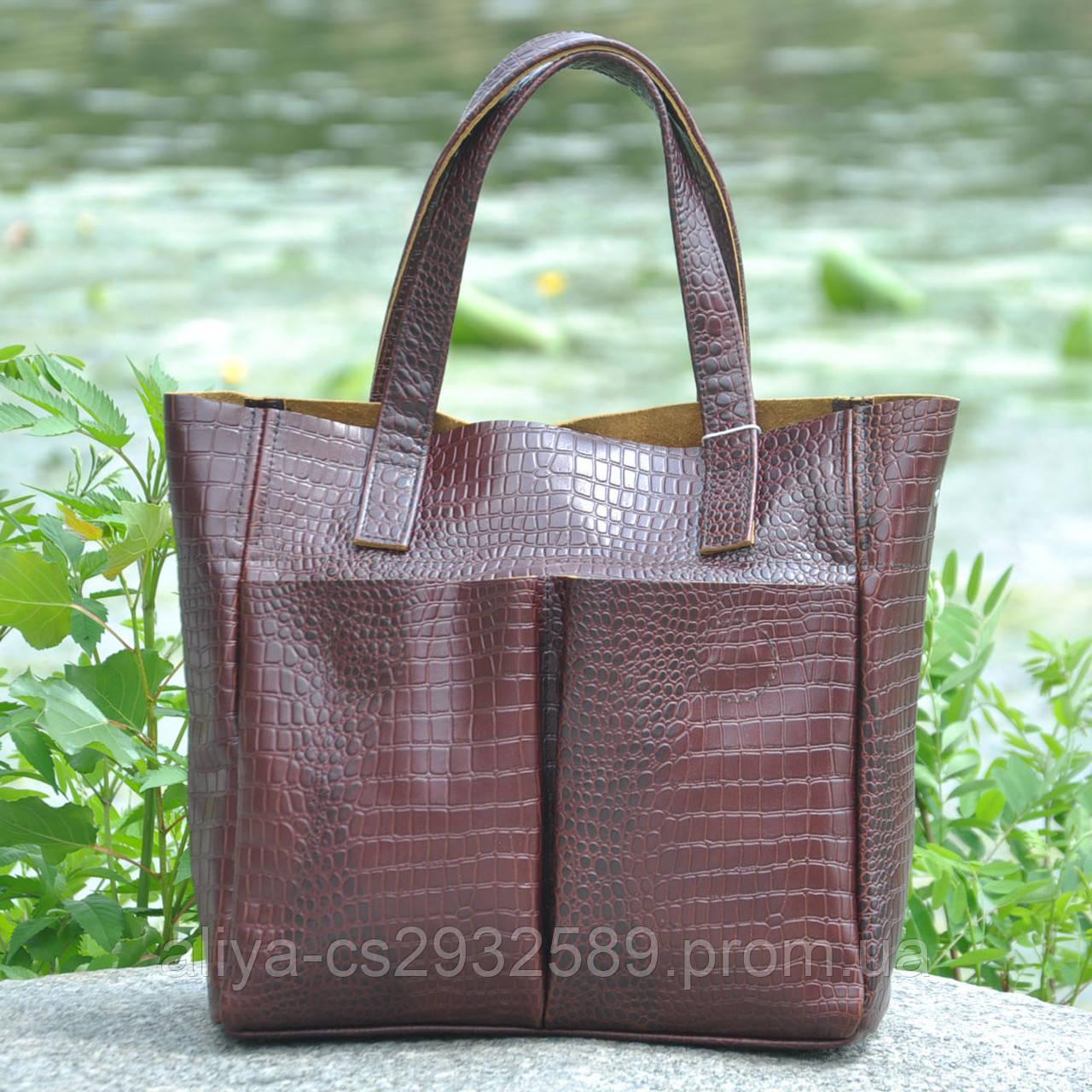 14245cec2da8 Кожаная женская сумка Палермо крокодиловая коричневая: продажа, цена ...