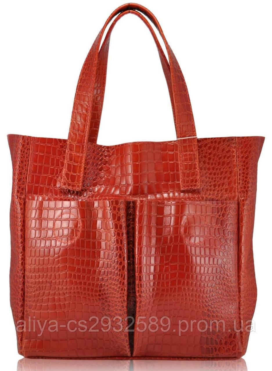 Кожаная женская сумка Палермо крокодиловая красная
