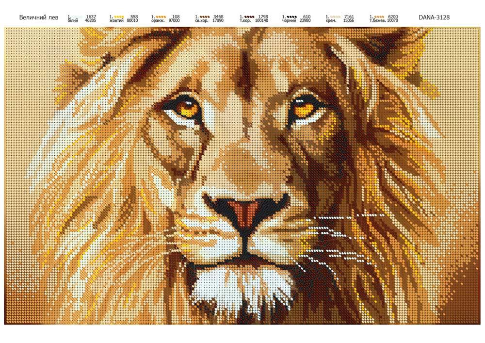 Лев вышивка бисером схема
