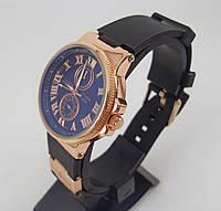 Часы Ulysse Nardin 012964 женские золото с черным ремешком обычная застежка