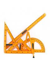 Набор чертежный для доски 5 предм.: лин.1м+трансп. 50см+2угольн.+циркуль на присоске Josef Otten