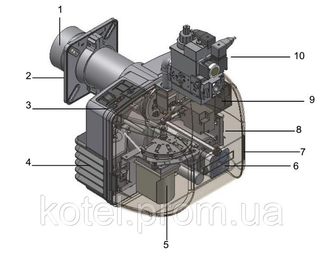Схема газовой прогрессивной горелки Unigas NG 140 PR ( 170 кВт )
