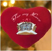 Подушка-сердце с мишками и Вашей надписью