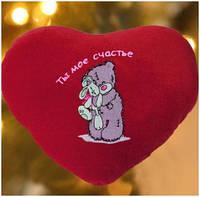 Подушка-сердце с Вашей надписью и мишкой