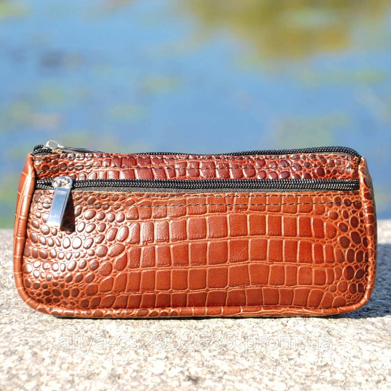 Кожаная косметичка Токио крокодиловая коричневая