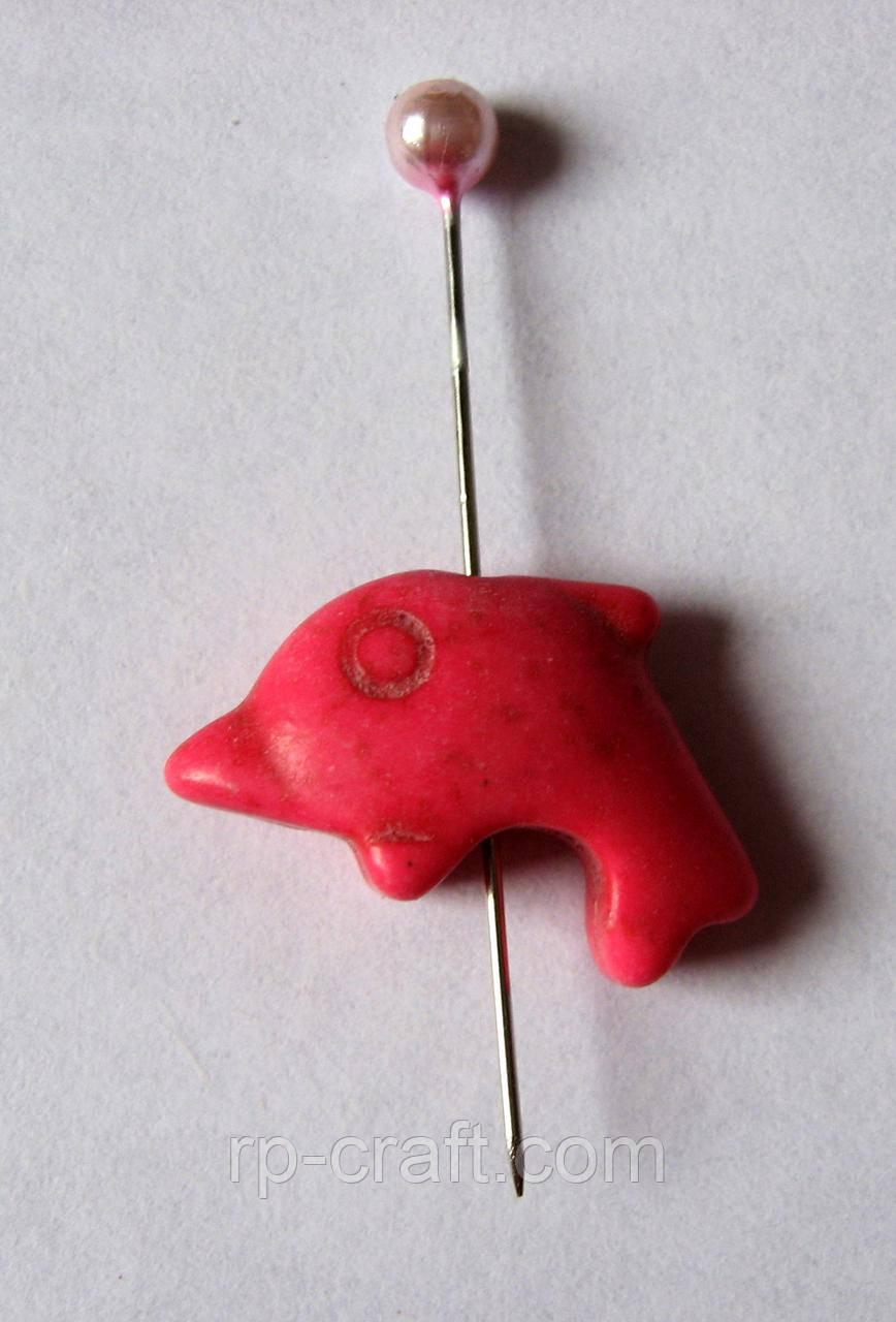 Бусина. Камень натуральный, Дельфин, 11х20 мм
