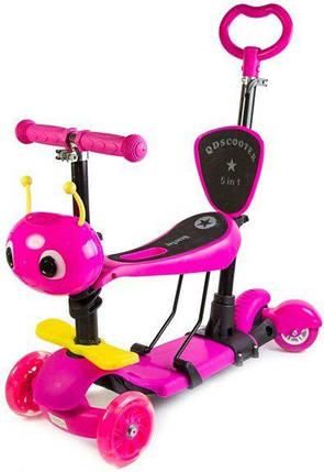 Трехколесный Детский Самокат Беговел scooter 5 в 1 - С родительской ручкой и сиденьем - Ufo Розовый, фото 2