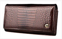 Кошелек кожаный женский лаковый коричневый ST S9001A Dark Brown, фото 1