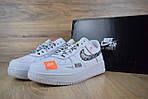 Кроссовки Nike Air Force JD, белые + шнурки принт, фото 3