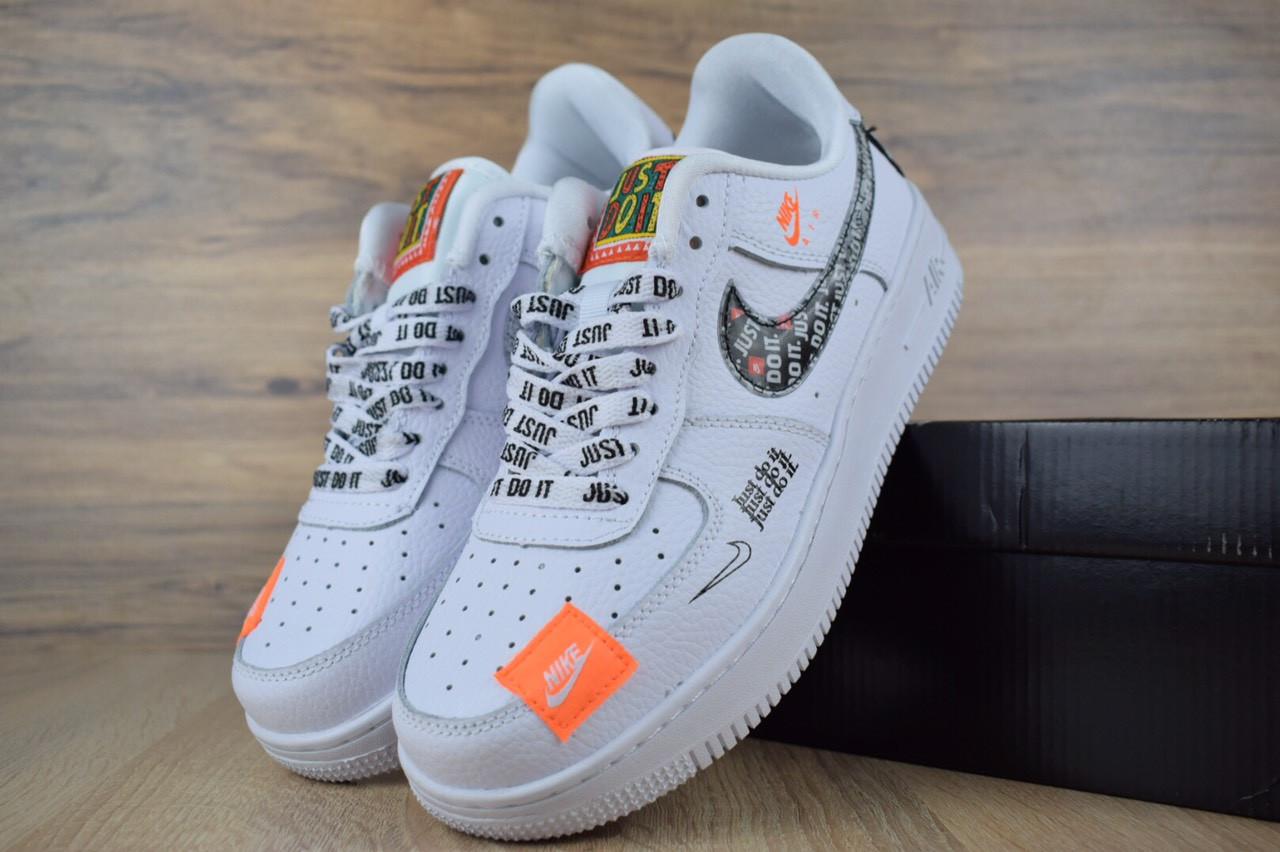 Кроссовки Nike Air Force JD, белые + шнурки принт