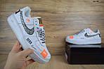 Кроссовки Nike Air Force JD, белые + шнурки принт, фото 4