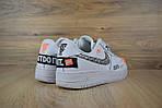 Кроссовки Nike Air Force JD, белые + шнурки принт, фото 5