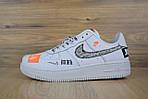 Кроссовки Nike Air Force JD, белые + шнурки принт, фото 2