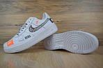 Кроссовки Nike Air Force JD, белые + шнурки принт, фото 7