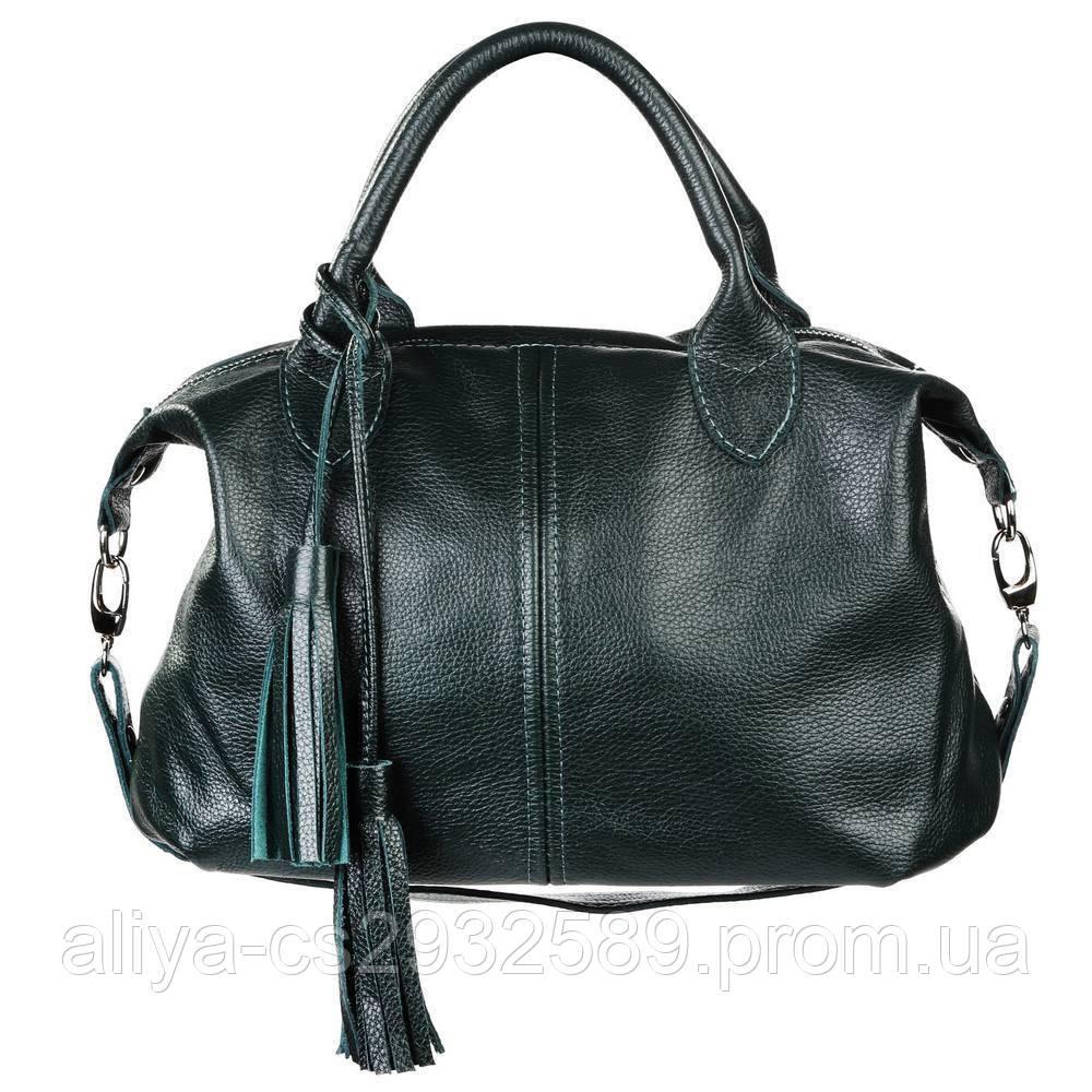 Кожаная женская сумка Барселона зеленая