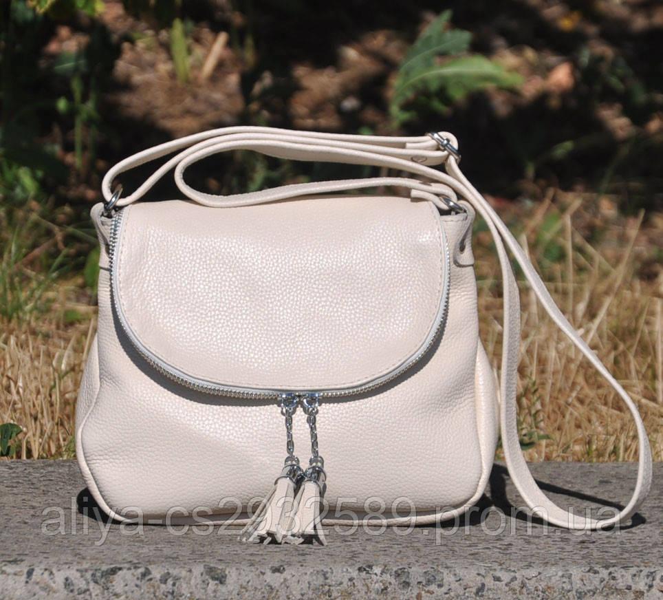 Кожаная женская сумка Марсель молочная