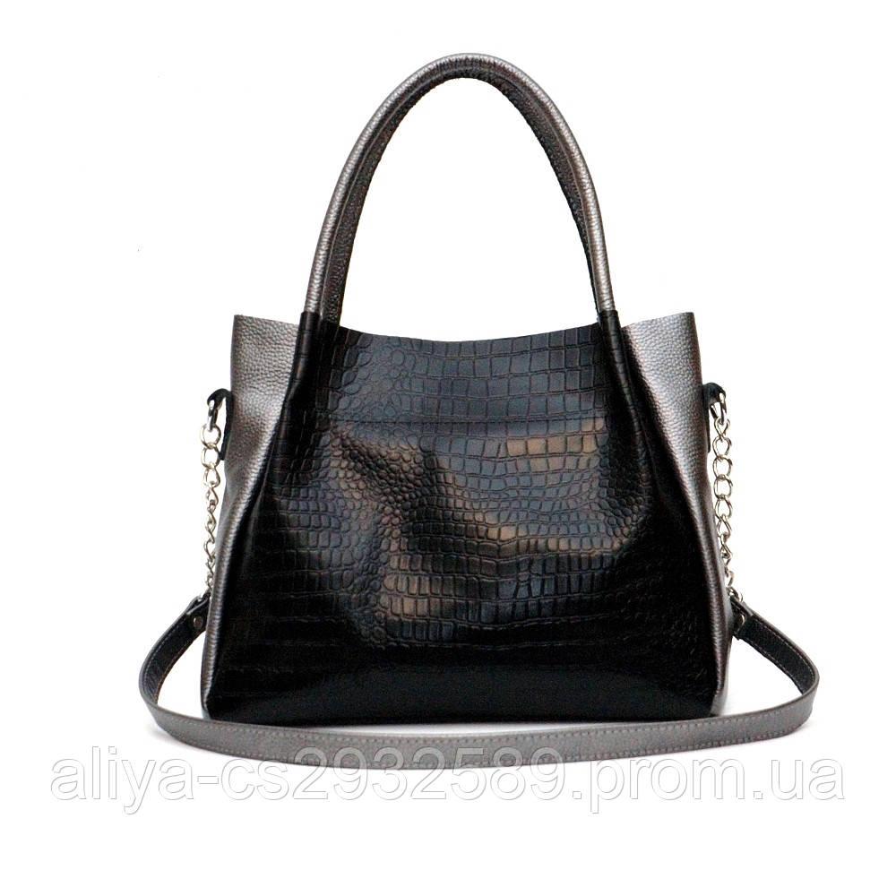 Кожаная женская сумка Верона никель
