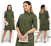 Платье-мини прямого кроя из джинс диагонали с застежкой по всей длине, укороченными рукавами 3/4, 3 цвета