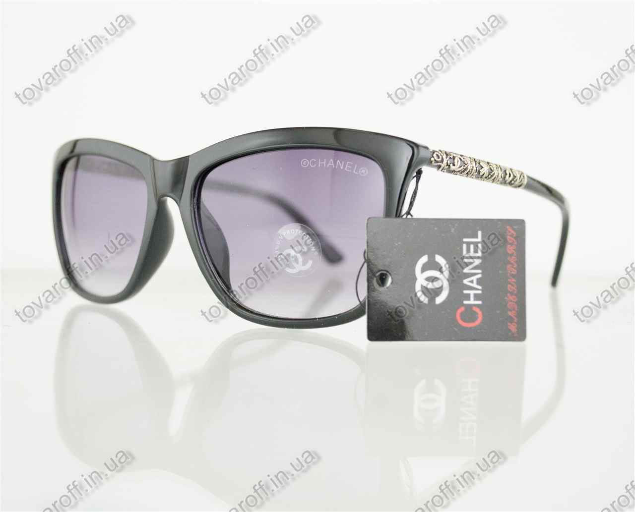 Оптом окуляри жіночі сонцезахисні брендові Chanel (Шанель) - Чорні - 97