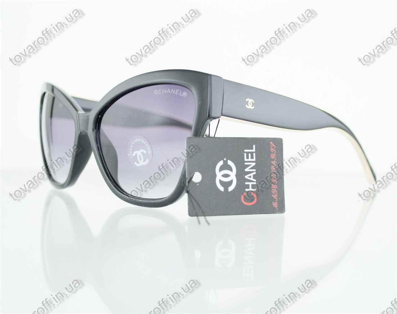 Оптом очки женские солнцезащитные брендовые Chanel (Шанель) - Черные - 5271