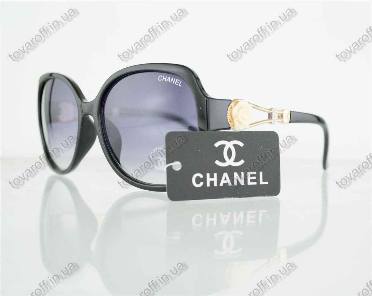 Оптом очки женские солнцезащитные брендовые Chanel (Шанель) - Черные - 302