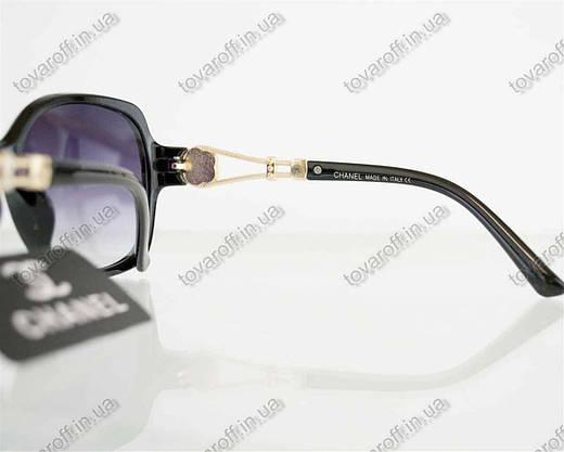 Оптом очки женские солнцезащитные брендовые Chanel (Шанель) - Черные - 302, фото 3