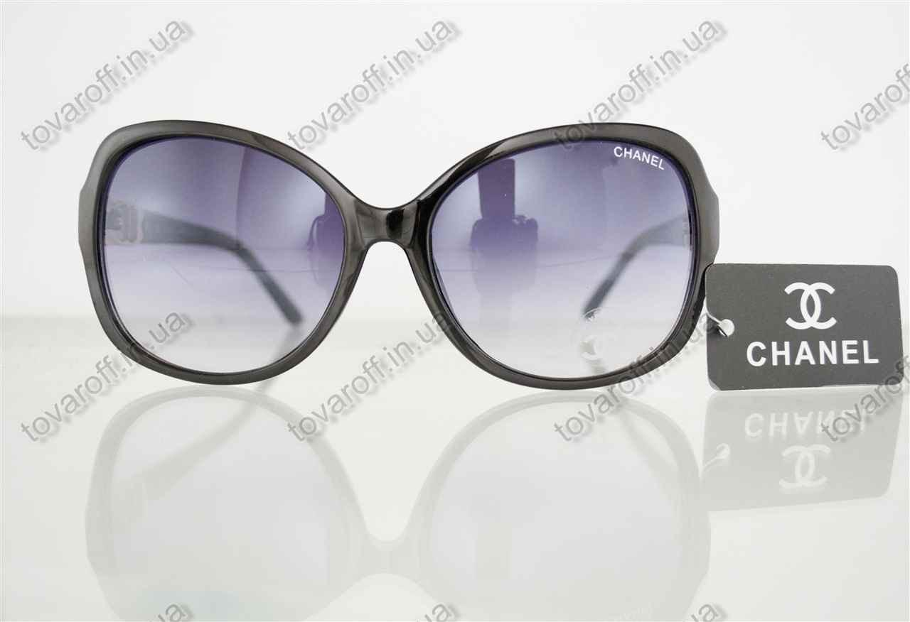 Оптом очки женские солнцезащитные брендовые Chanel (Шанель) - Черные - 8041