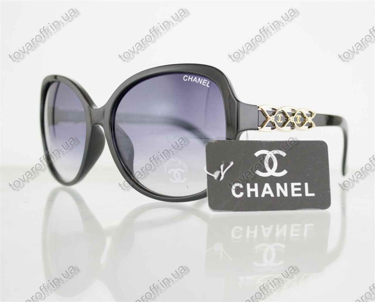 Оптом очки женские солнцезащитные брендовые Chanel (Шанель) - Черные - 804