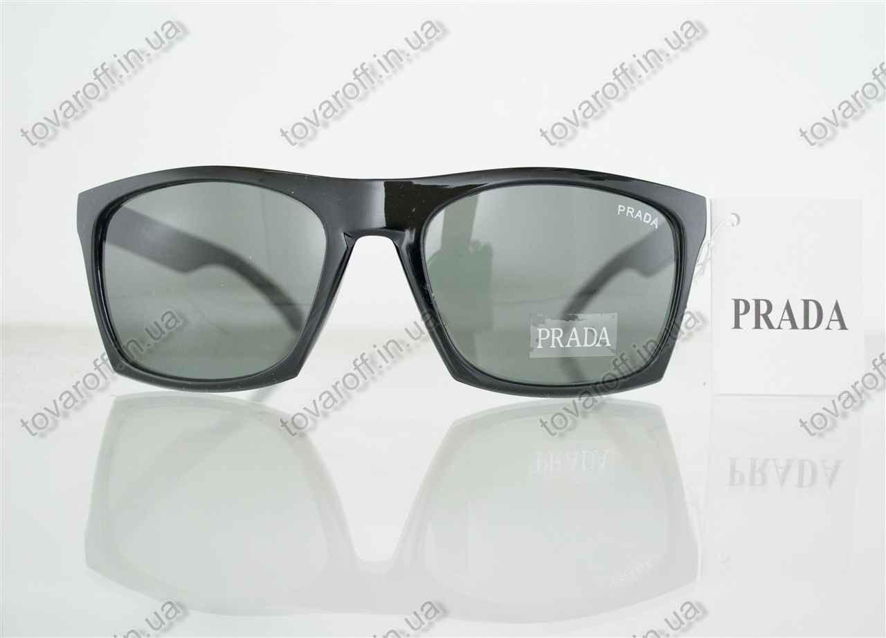 Оптом очки мужские солнцезащитные брендовые Prada (Прада) - Черные - 5155