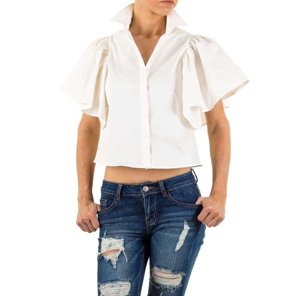 Блузка с короткими расклешенными рукавами Shk Mode (Европа) Белый