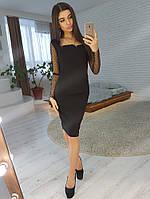 81f80f79ca9 Черное платье футляр с рукавами из сетки добби