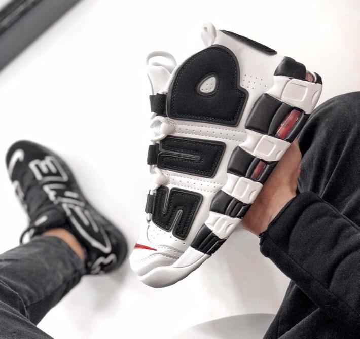 Мужские кроссовки Air Uptempo White Supreme. Живое фото (Реплика ААА+)