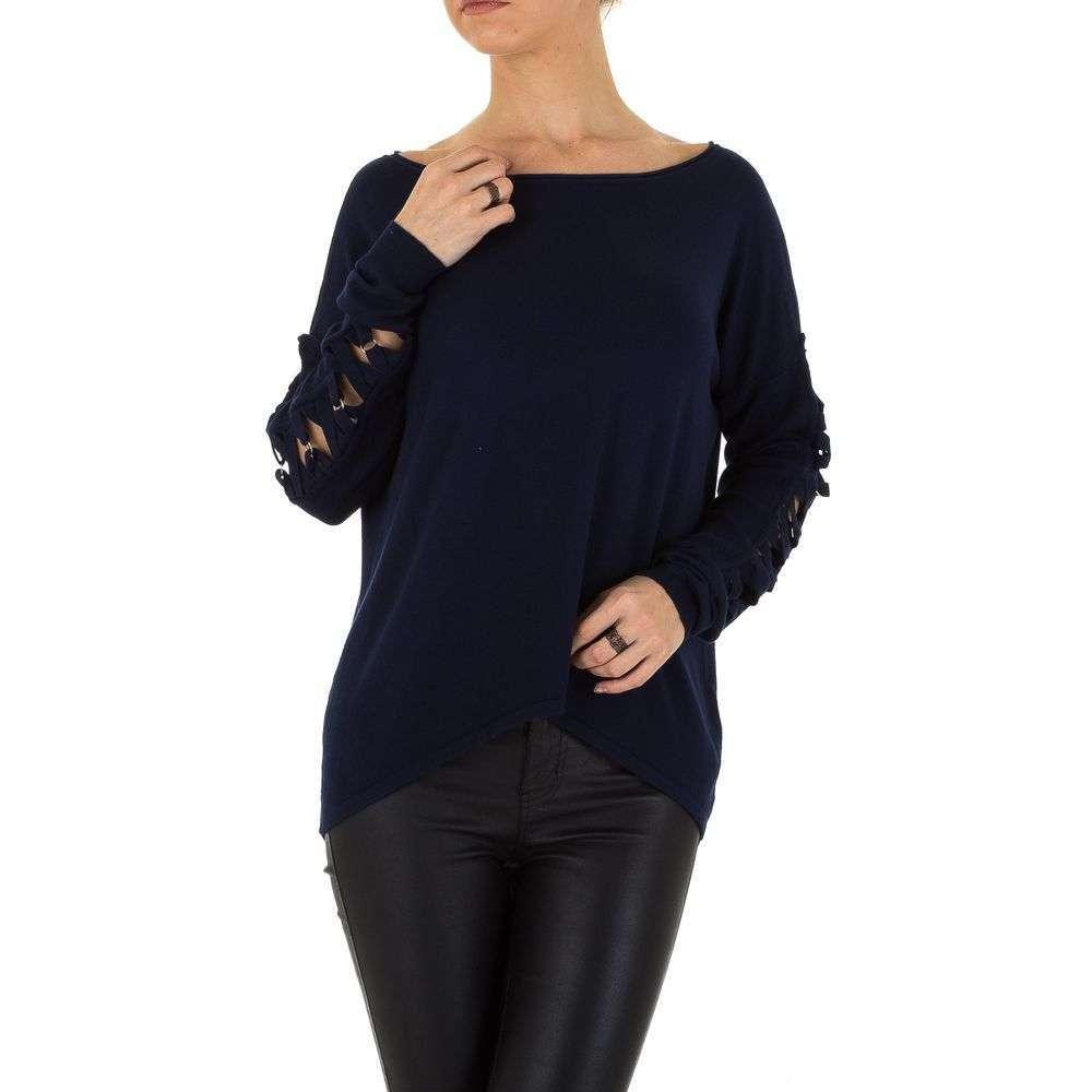 Женский джемпер с удлиненной спинкой и шнуровкой (Европа), Темно-синий