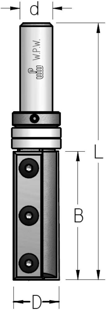 Фреза обгонная WPW, сменные ножи, верхний подшипник D19 B50 d12 Z2 PFM8192