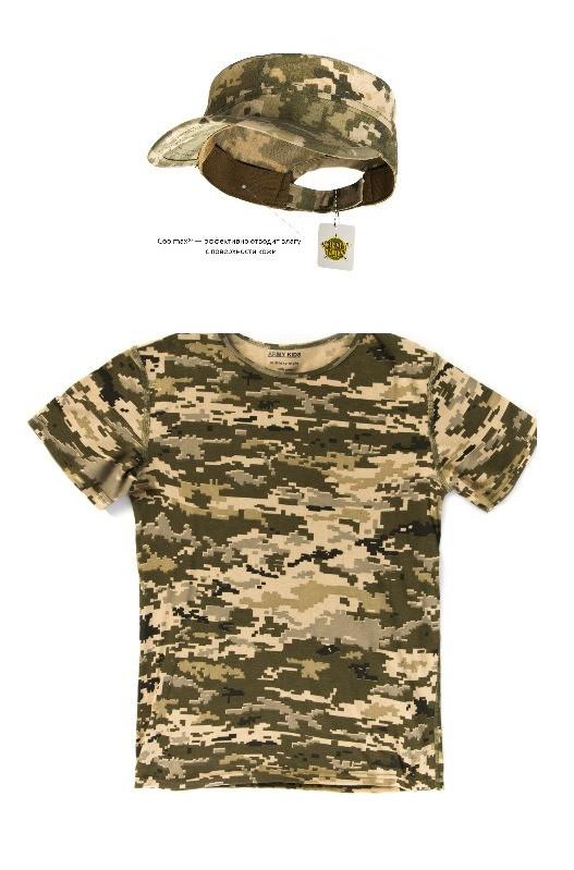 Детский камуфляж комплект футболка кепка СкаутПиксель