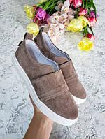Бежеві сліпони мокасини балетки жіночі замшеві натуральні повсякденні комфортне взуття від виробника