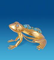 Позолоченная фигурка Лягушка с цветными кристаллами Сваровски