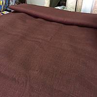 Лён красно-коричневый шоколад, ширина 150 см, фото 1