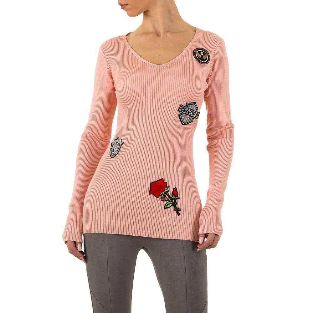 Женский пуловер с нашивками Emma&Ashley (Словения), Пудровый