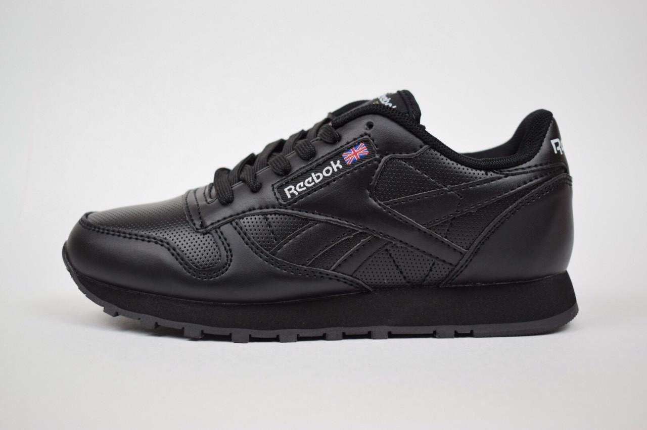 Женские кроссовки Reebok Classic с перфорацией, черные